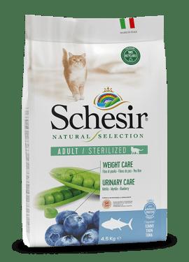 , Crocchette naturali per gatti sterilizzati – Sterilized Ricco in tonno sacco 4,5 kg, Schesir - Alimenti Naturali Per Cani E Gatti
