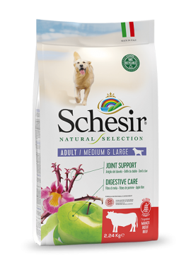 , Natural dry food for adult dogs – Medium & Large Rich in Beef 2.24 kg bag, Schesir - Natural Food For Dogs And Cats