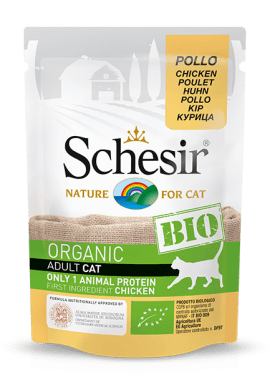, Cibo umido biologico per gatti con una sola fonte proteica – Pollo BIO busta 85 g, Schesir - Alimenti Naturali Per Cani E Gatti