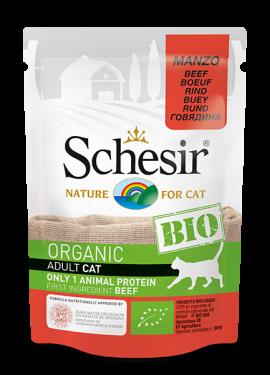 , Cibo umido biologico per gatti con una sola fonte proteica – Manzo BIO busta 85 g, Schesir - Alimenti Naturali Per Cani E Gatti
