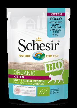 , Cibo umido biologico per gatti con una sola fonte proteica – Kitten Pollo BIO busta 85 g, Schesir - Alimenti Naturali Per Cani E Gatti