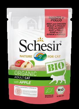 , Cibo umido biologico per gatti – Manzo e Pollo con Mela BIO busta 85 g, Schesir - Alimenti Naturali Per Cani E Gatti