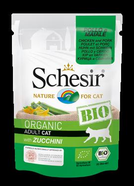 , Cibo umido biologico per gatti – Pollo e Maiale con Zucchini BIO busta 85 g, Schesir - Alimenti Naturali Per Cani E Gatti