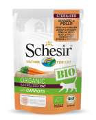 , Organic wet food for sterilized cats – Sterilized BIO Beef and Chicken with carrots 85g pouch, Schesir - Natural Food For Dogs And Cats