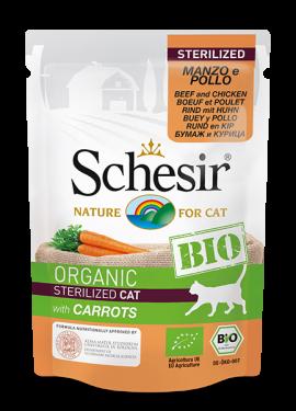 , Cibo umido biologico per gatti sterilizzati – Sterilized Manzo e Pollo con carote BIO busta 85 g, Schesir - Alimenti Naturali Per Cani E Gatti