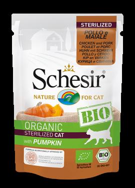 , Cibo umido biologico per gatti sterilizzati – Sterilized Pollo e Maiale con zucca BIO busta 85 g, Schesir - Alimenti Naturali Per Cani E Gatti
