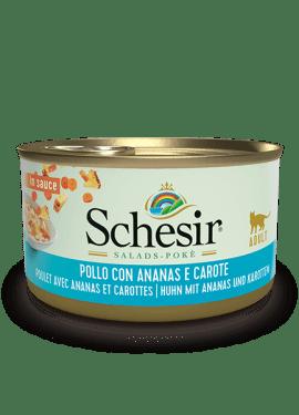 , Cibo umido per gatti adulti – Pollo con ananas e carote lattina 85 g, Schesir - Alimenti Naturali Per Cani E Gatti