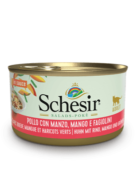 , Wet food for adult cats – Chicken with Beef, Mango and Green Beans, 85g can, Schesir - Natural Food For Dogs And Cats