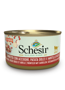 , Wet food for adult cats – Tuna with Anchovies, Sweet Potato and Cranberries 85g can, Schesir - Natural Food For Dogs And Cats
