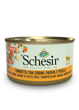, Wet food for adult cats – Tuna with Surimi, Papaya and Peas 85g can, Schesir - Natural Food For Dogs And Cats
