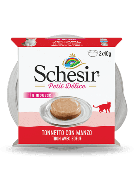 , Wet food for adult cats with fish – Tuna with Beef, 2x40g tub multipack, Schesir - Natural Food For Dogs And Cats