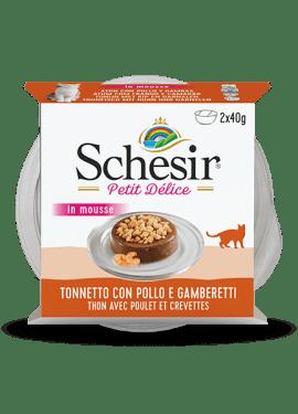 , Cibo umido per gatti adulti con pesce – Tonnetto con pollo e gamberetti vaschetta 2×40 g, Schesir - Alimenti Naturali Per Cani E Gatti