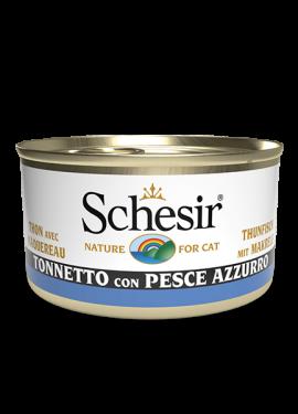 , Cibo umido per gatti adulti con pesce – Tonnetto con pesce azzurro lattina 85 g, Schesir - Alimenti Naturali Per Cani E Gatti
