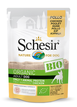, Organic wet food for dogs with a single source of protein – Organic Chicken 85g pouch, Schesir - Natural Food For Dogs And Cats