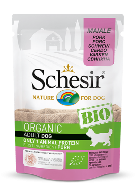 , Organic wet food for dogs with a single source of protein – BIO Pork 85g pouch, Schesir - Natural Food For Dogs And Cats