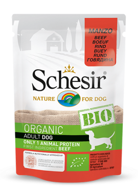 , Organic wet food for dogs with a single source of protein – BIO Beef, 85g pouch, Schesir - Natural Food For Dogs And Cats