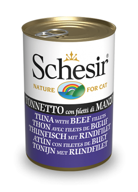 , Wet food for cats – Tuna with beef fillets 140g can, Schesir - Natural Food For Dogs And Cats