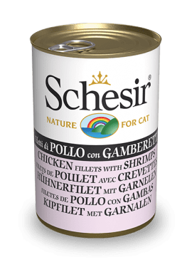, Wet cat food – Chicken Fillets with Shrimp 140g can, Schesir - Natural Food For Dogs And Cats