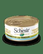 , Cibo umido per gatti con pesce – Tonnetto con triglia in brodo di pesce lattina 70 g, Schesir - Alimenti Naturali Per Cani E Gatti