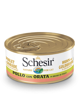 , Wet cat food with fish – Chicken with Bream in chicken broth 70g can, Schesir - Natural Food For Dogs And Cats
