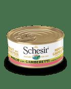 , Cibo umido per gatti con pesce – Pollo con gamberetti in brodo di pollo lattina 70 g, Schesir - Alimenti Naturali Per Cani E Gatti