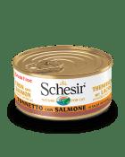 , Cibo umido per gatti adulti con pesce – Tonnetto con Salmone in salsa naturale lattina 70 g, Schesir - Alimenti Naturali Per Cani E Gatti