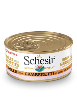, Wet cat food – Chicken with Shrimp in Natural Sauce, 70g can, Schesir - Natural Food For Dogs And Cats