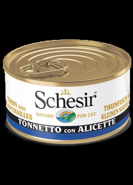 , Cibo umido per gatti adulti con pesce – Tonnetto con alicette lattina 85 g, Schesir - Alimenti Naturali Per Cani E Gatti