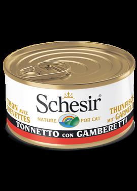 , Cibo umido per gatti adulti con pesce – Tonnetto con gamberetti lattina 85 g, Schesir - Alimenti Naturali Per Cani E Gatti