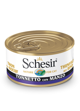 , Wet cat food – Tuna with Beef 85g can, Schesir - Natural Food For Dogs And Cats