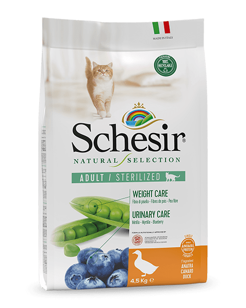 , Natural dry food for sterilized cats – Sterilized Rich in Duck 4.5 kg bag, Schesir - Natural Food For Dogs And Cats
