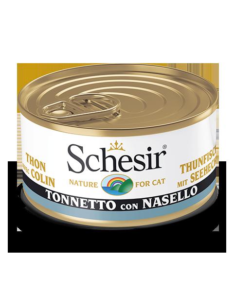 , Cibo umido per gatti adulti con pesce – Tonnetto con Nasello lattina 85 g, Schesir - Alimenti Naturali Per Cani E Gatti