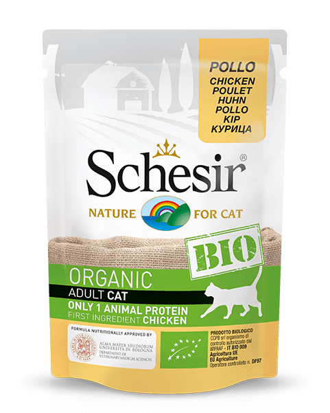 , Organic wet cat food with a single source of protein – BIO Chicken 85g pouch, Schesir - Natural Food For Dogs And Cats