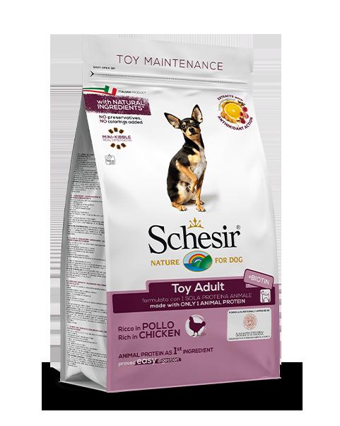 , Crocchette per cani di piccola taglia – Toy Adult ricco in pollo sacco 800g, Schesir - Alimenti Naturali Per Cani E Gatti