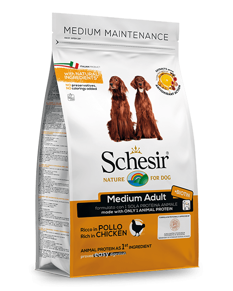 , Dry food for medium size dogs – Medium Adult Rich in Chicken 3 kg bag, Schesir - Natural Food For Dogs And Cats