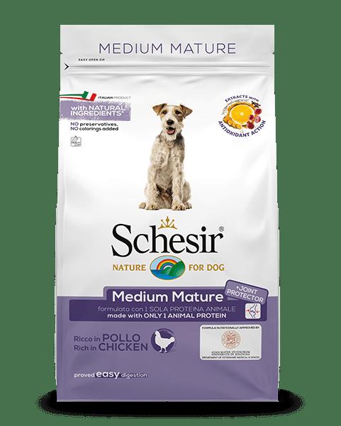 , Crocchette per cani anziani di taglia media – Medium Senior ricco in pollo sacco 3 kg, Schesir - Alimenti Naturali Per Cani E Gatti