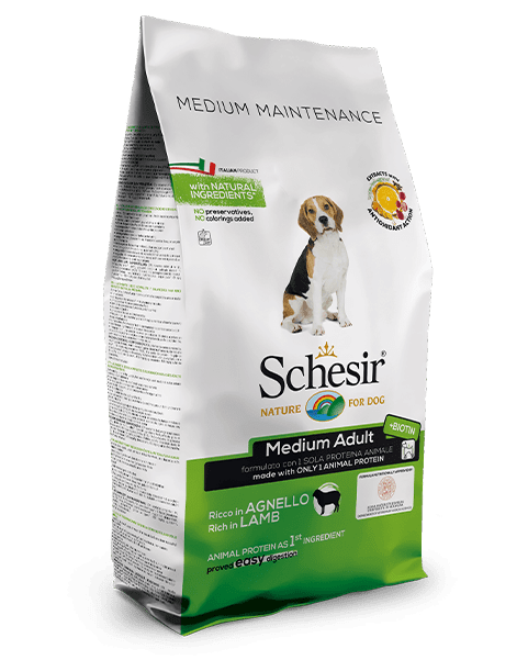 , Dry food for medium sized dogs – Medium Adult Rich in Lamb 12 kg bag, Schesir - Natural Food For Dogs And Cats
