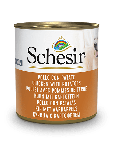 , Wet dog food – Chicken with Potatoes, 285g can, Schesir - Natural Food For Dogs And Cats