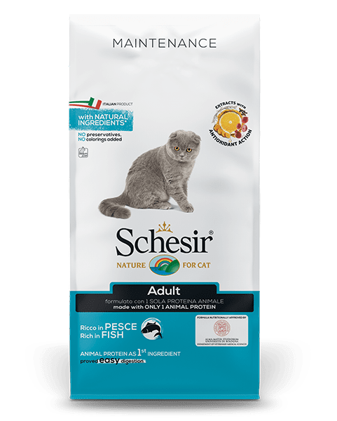 , Dry food for adult cats with a single protein source – Adult Rich in Fish 10 kg bag, Schesir - Natural Food For Dogs And Cats