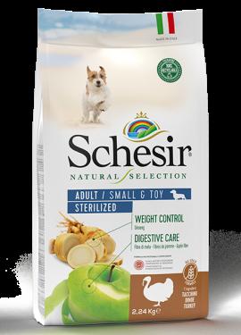 , Crocchette naturali per cani adulti – Small & Toy Adult Sterilized Ricco in tacchino sacco 2,24 kg, Schesir - Alimenti Naturali Per Cani E Gatti