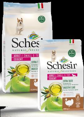 , Crocchette naturali per cani adulti – Small & Toy Adult Exigent Ricco in tacchino sacco 2,24 kg + 490 g, Schesir - Alimenti Naturali Per Cani E Gatti