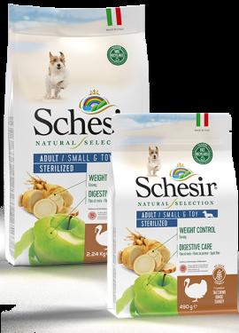 , Crocchette naturali per cani adulti – Small & Toy Adult Sterilized Ricco in tacchino sacco 2,24 kg + 490 g, Schesir - Alimenti Naturali Per Cani E Gatti
