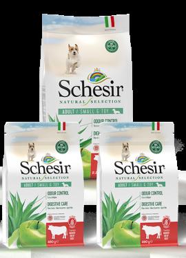 , Crocchette naturali per cani adulti – Small & Toy Ricco in manzo sacco 2,24 kg + 2 x 490 g, Schesir - Alimenti Naturali Per Cani E Gatti