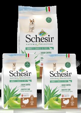 , Crocchette naturali per cani adulti – Small & Toy Adult  Ricco in tacchino sacco 2,24 kg + 2 x 490 g, Schesir - Alimenti Naturali Per Cani E Gatti