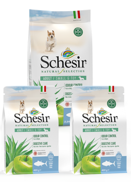 , Crocchette naturali per cani adulti – Small & Toy Adult Ricco in tonno sacco 2,24 kg + 2 x 490 g, Schesir - Alimenti Naturali Per Cani E Gatti