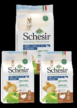 , Crocchette naturali per cani adulti – Small & Toy Adult Sterilized Ricco in tacchino sacco 2,24 kg + 2 x 490 g, Schesir - Alimenti Naturali Per Cani E Gatti