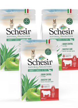 , Crocchette naturali per cani adulti – Small & Toy Ricco in manzo sacco 3 x 490 g, Schesir - Alimenti Naturali Per Cani E Gatti