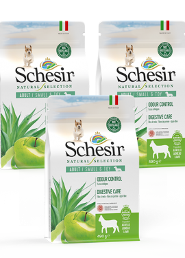 , Crocchette naturali per cani adulti – Small & Toy Adult Ricco in agnello sacco 3 x 490 g, Schesir - Alimenti Naturali Per Cani E Gatti