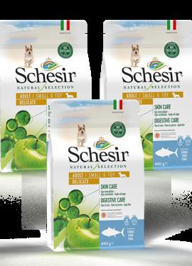 , Crocchette naturali per cani adulti – Small & Toy Adult Delicate Ricco in tonno sacco 3 x 490 g, Schesir - Alimenti Naturali Per Cani E Gatti