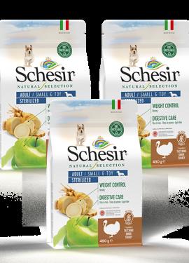 , Crocchette naturali per cani adulti – Small & Toy Adult Sterilized Ricco in tacchino sacco 3 x 490 g, Schesir - Alimenti Naturali Per Cani E Gatti
